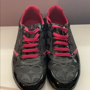 COACH BLACK AND HOT PINK SNEAKERS